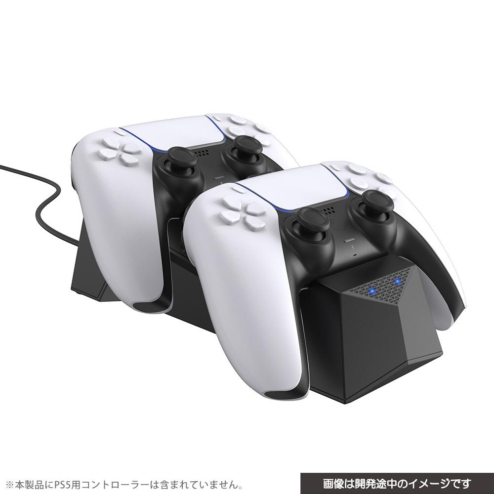 PS5用 置くだけで充電できるコントローラースタンドダブル ブラック CY-P5OCCSW-BK_1