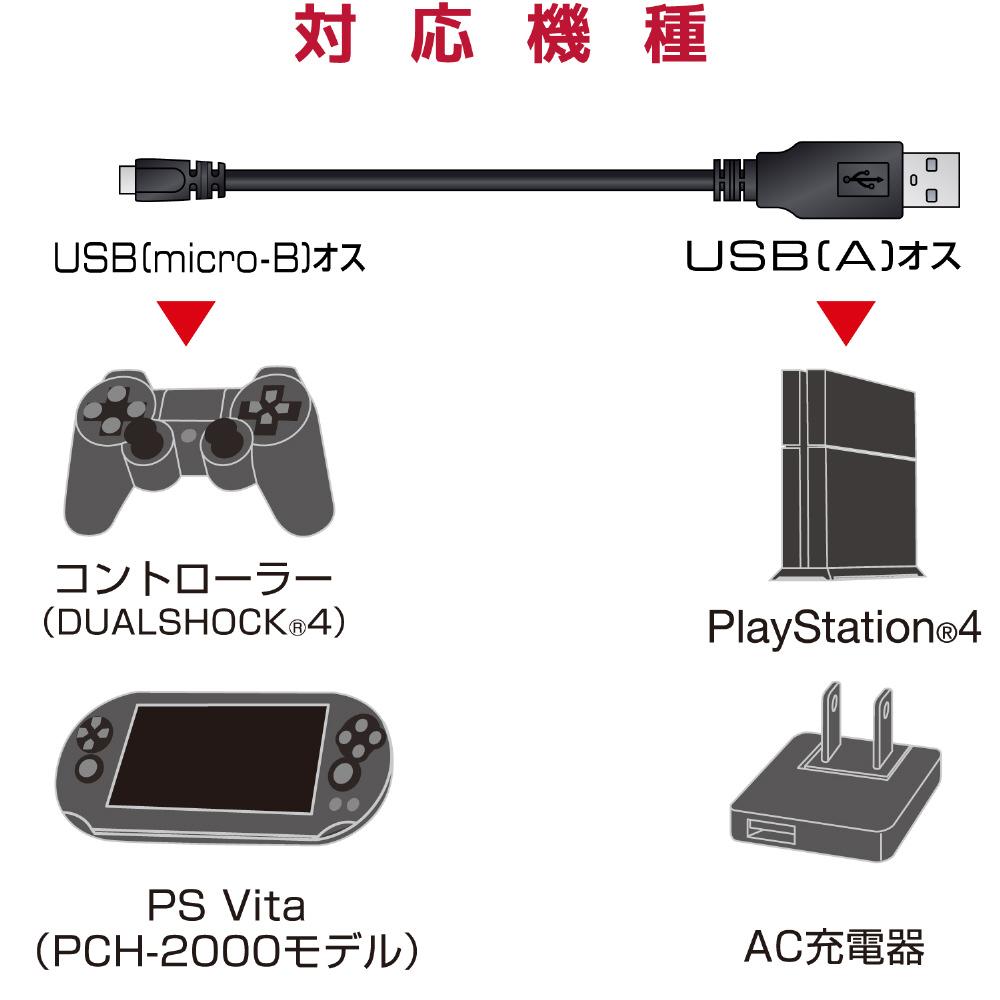 USB2.0ケーブル micro-Bタイプ for PlayStation4 2m 【PS4】 [GM-U2CAMB20BK]_6